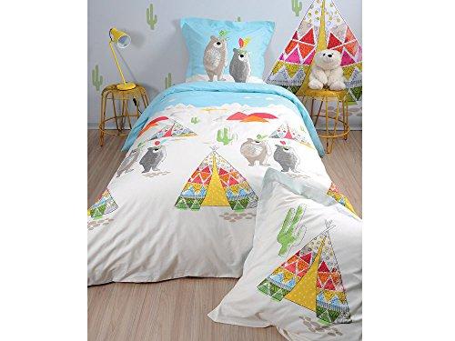 STOF Parure Housse de Couette + taies Enfant 100% Coton Ours tipi Indien Multicolore TIPI
