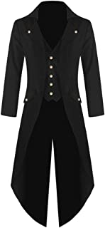 Fiaya Halloween Costume Mens Coat Tailcoat Jacket Gothic Victorian Frock Coat Party Uniform (2XL,