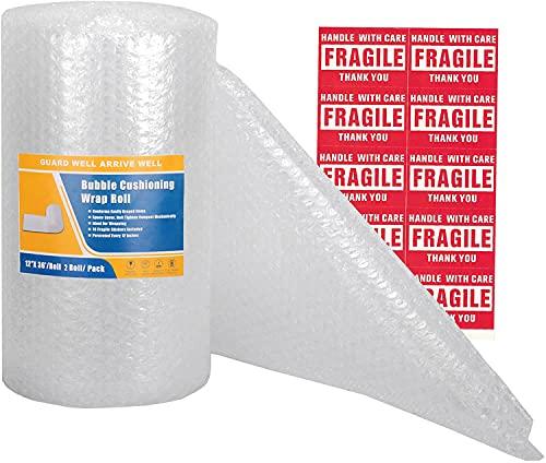 Cymax Rotolo Pluriball, 300 mm x 11 m/rotolo, perforati ogni 30 cm,10 adesivi fragili inclusi, Imbottitura per imballaggio bolle per la protezione di oggetti durante il trasloco (Bianco)