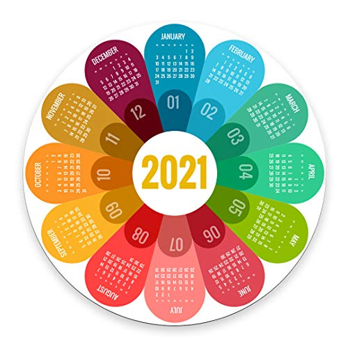 Smooffly 2021 Calendar Mouse Pad Petals Round Non-Slip Mouse Pad Computer Accessories