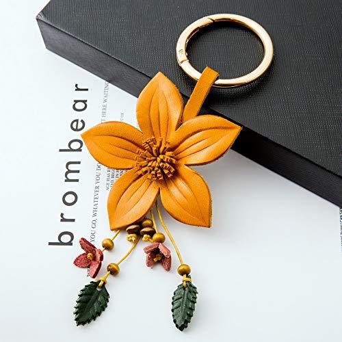 Handmade Leather Lily Flower Keychain Car Keyring Fob Tassel Orange Boho Decor