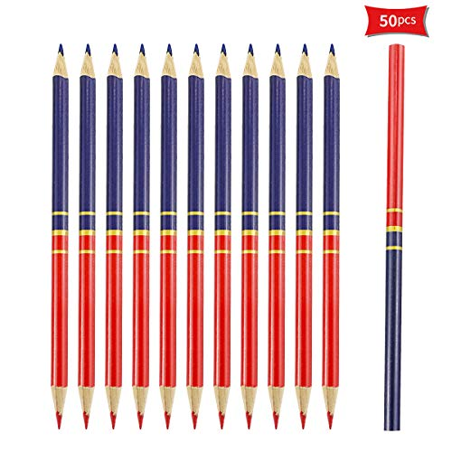 Wpxmer 50 Pack Red and Blue Pencils, Colored Pencil for Checking Map Coloring Tests Grading, HB