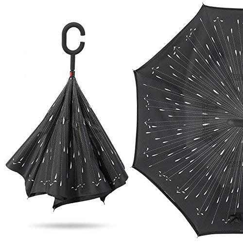 NJSDDB paraplu Vrouwen Winddichte Omgekeerde Dubbele Laag Omgekeerde Chuva Paraplu Zelf Stand Inside Out Regenbescherming C-Haak Handen Voor Auto, 10 stuks.