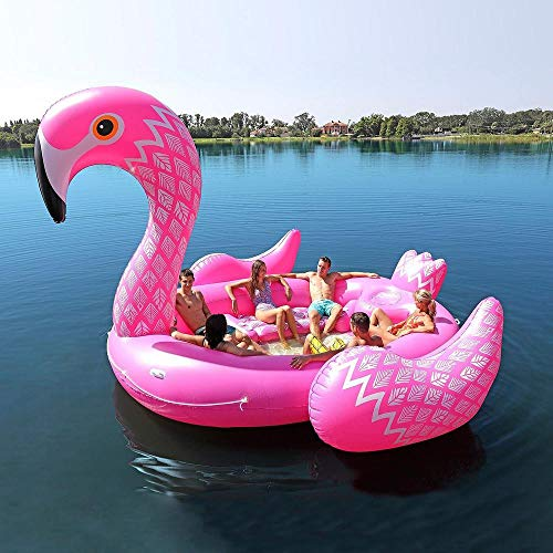 TYYM Nueva Isla De PVC Fila Gigante De Unicornio Flotante Juguetes Inflables, Flamingo Pavo Real Cama Super Grande Adatto per 6 Persone Juguetes De Agua 410 * 430 * 270 Cm Pink
