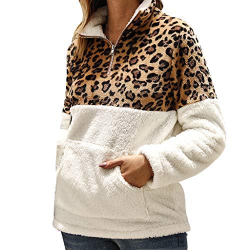SHE.White Pullover Damen, Frauen Winter Plüsch Pulli Langarm Teddy-Fleece Sweatshirt Mode Große Kapuzenpulli Oberteil Leopard Drucken Nähen Warm Fleecejacke Streetwear Outwear