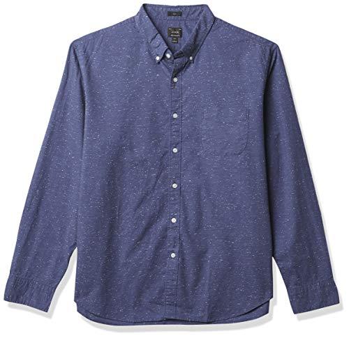 J.Crew Mercantile Men's Slim-fit Long-Sleeve Marled Cotton Shirt, deep Baltic, M
