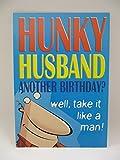 Birthday Cards Family HALLMARK - Tarjeta de felicitación de cumpleaños con texto en inglés Hallowky HUSBAND TAKE IT LIKE A MAN BIRTHDAY