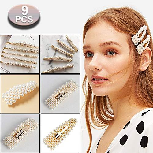 Perle Haarspange, 9 Stücke Haarspangen Perlen, Mode Eleganz Haar Snap Clips für Hochzeit Valentinstag Geschenke
