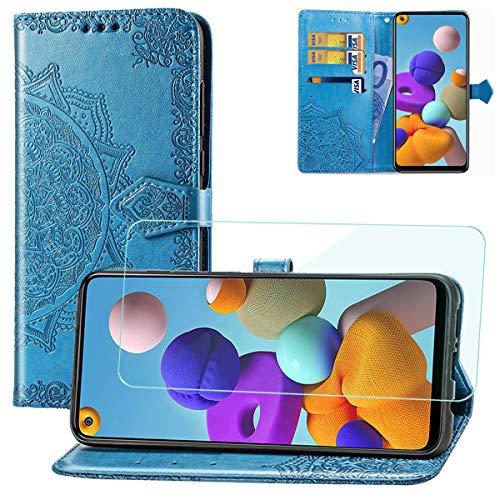 Yohii Funda Samsung Galaxy A21s + Protector pantalla de Cristal Templado, Piel PU Soporte Plegable Ranuras Cartera con Tapa Tarjetas Magnético Cuero Flip Carcasas, Case para Samsung Galaxy A21s - Azul