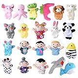 21 Pz Marionette da Dita Burattini da Dita Pupazzetti 15 Animali 6 Persone di Famiglia Giocattoli Animaletti Peluche Piccoli Regalo per Compleanno Pasqua Party