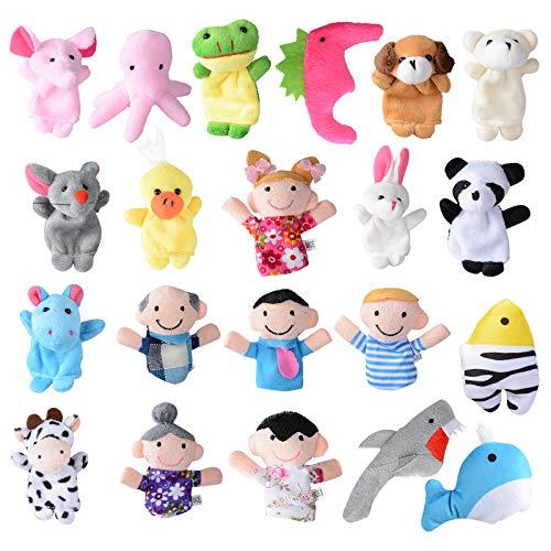 21 Pcs Marionetas de Dedos 15 Animales y 6 Personas Títeres de Dedos Juego Lindos Dedos Muñecas Juguetes Pequeños de Mano Interesante para Niños Regalo de Cumpleaños
