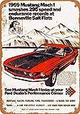 1969 Ford Mustang Mach 1 at Bonneville Salt Flats Carteles de metal vintage Carteles de chapa retro Cartel Placa Decoración de pared Bar Casa Garaje Taller al aire libre 8 × 12 pulgadas