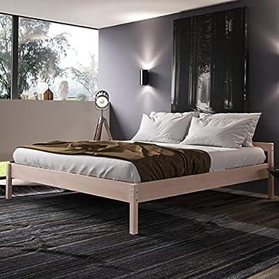 EXTREMADAMENTE ESTABLE - Esta cama de madera maciza de Hansales es la cama individual, cuna, cama juvenil o cama compacta ideal para tu hogar; también es excelente y fiable somier para hoteles y pensiones. COMPLETAMENTE NATURAL - Esta cama de madera ...
