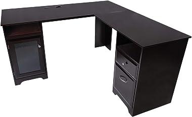GOOD & GRACIOUS Professional L-Shaped Desk, Home Office Corner Computer Desk, USB Power for Modern Gaming Workstation &am