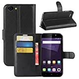 HualuBro Funda ZTE Blade A6 Lite, [Protección Todo Alrededor] Premium PU Cuero Leather Billetera Wallet Carcasa Case Flip Cover para ZTE Blade A6 Lite (Negro)
