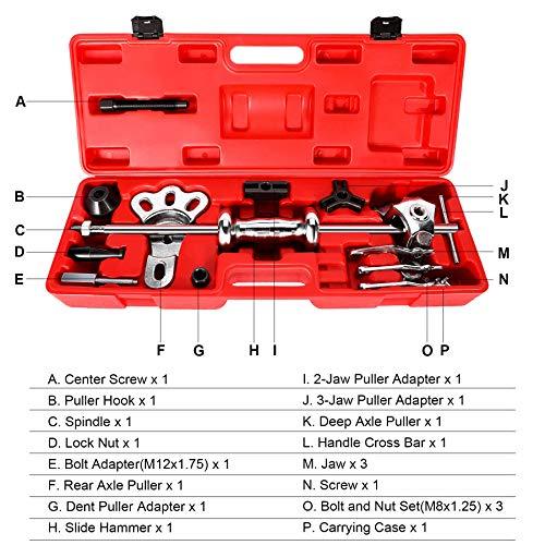 Orion Motor Tech 9-Way Slide Hammer Puller Set, Front Wheel Hub Bearing Remover & Rear Wheel Axle Hub Dent Shaft Puller Tool Kit