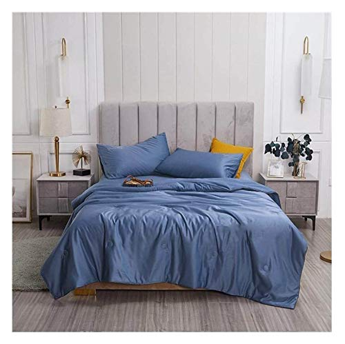 HFXY Washable Ice Silk Duvet,Ultra Soft Warm And Durable Anti-acarian 1.5 Tog Microfiber Quilt Lightweight Embroidery Pattern Throws For Sofa Bed Blanket 1014 (Color : A, Size : King)