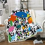 Decke,Bettwäsche In Warmen 3D Drucktuch, Abstrakt Blau Orange Graffiti, Flauschig Weichem Fleece Decke, Sherpa Flanell Plüsch Decke Für Abdeckung Schlafsofa, 51.18 × 59.05 In (130 × 150 Cm Werfen)