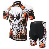 Free Fisher - Conjunto de ciclismo, con maillot de manga corta y pantalón de ciclismo, Unisex adulto, blanco y naranja, small