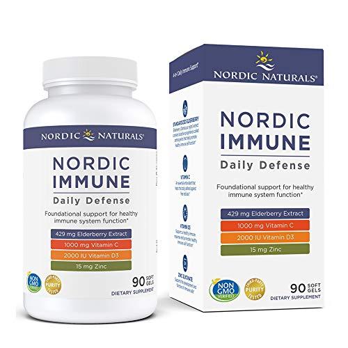 Nordic Naturals Nordic Immune Daily Defense - 90 Soft Gels - Vitamin C, Vitamin D3, Zinc & Elderberry Extract - Immune Support, Antioxidant - Non-GMO - 30 Servings