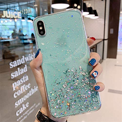 KKAAVV Glitter Transparant Telefoonhoesje Voor iPhone 11 Pro Max X XR Xs Max Bling Poeder Zacht Silicon Cover Voor iPhone 6 6s 7 8 Plus, For 6 Plus 6s Plus, Blauw 1