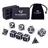 HEIMDALLR Metal D&D Dice Set 9 pcs - 2 Extra D6s, Metal Dice Box & Velvet Dice Bag; Metal DND Dice Set D&D (Dungeons and Dragons Dice Set) w D20 Dice - Blacksmith Craft Dice (Darkstar)