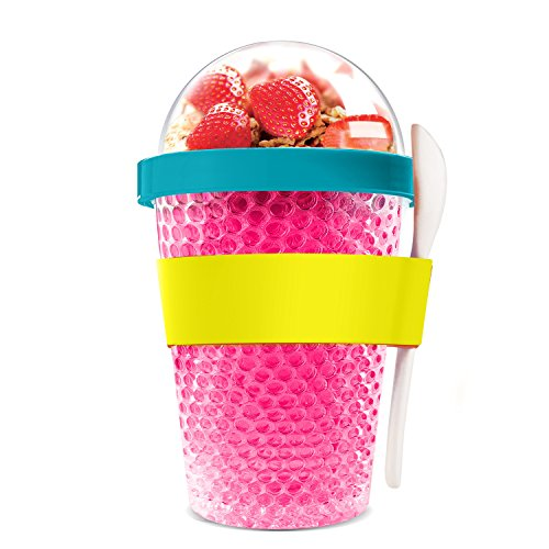 Asobu Chill Yo2go for a 13 Ounce Cold Yogurt Parfait Breakfast On The Go with a Melamine Spoon and Silicone Holder (Pink)