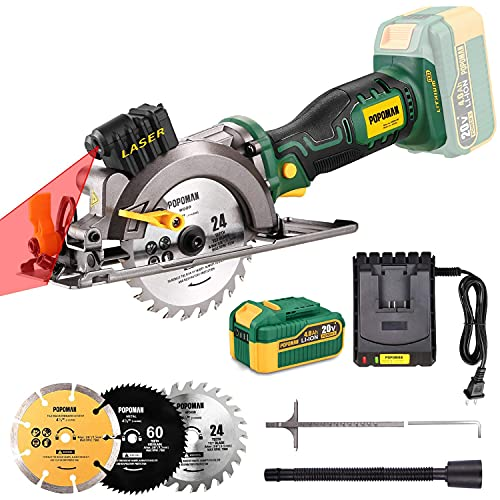 POPOMAN 20V Cordless Circular Saw, 4.0Ah Battery, 4-1/2 Inch, 4.500RPM Compact Circular Saw with Laser, Fast Charger, 3 Blades for Wood, Plastic, Soft Metal and Tile Cuts - MTW510B