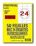 50 planches de 24 = 1200 étiquettes autocollantes papier adhésif blanc - 63,5 x 33,9 mm - compatible mon timbre en ligne ou FBA AMAZON- (l7159) TVA DEDUCTIBLE