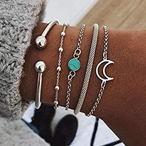 Branets Boho Layered Moon Armbänder Silber Türkis Armband Set Perle Armreif Handkette Schmuck Zubehör für Frauen und Mädchen (5 Stück)