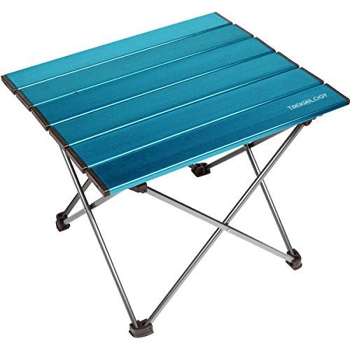 TREKOLOGY tragbarer Camping-Tisch mit Aluminium-Tischplatte, zusammenklappbar, mit Tasche, für Picknick, Camping, Strand, praktisch zum Essen, Schneiden, Kochen, leicht zu reinigen