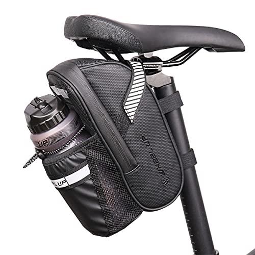 UBORSE Bolsa para Sillín de Bicicleta con Bolsillos Portabotellas Impermeable Bolsa de Almacenamiento para Asiento de Bicicleta para MTB Accesorios para Bicicletas