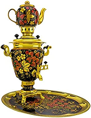 "Samovar electric 3 liters""Cone"" in the set""Classical Khokhloma"" hand-painting"