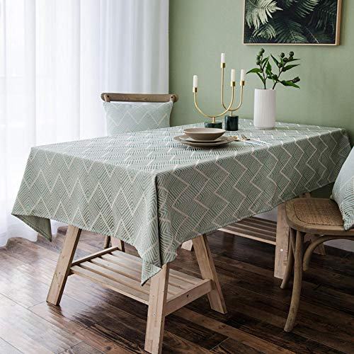 GTWOZNB Wipe Clean, Vinyl Tablecloth Cover Waterproof simple jacquard ripple-light green_135x135