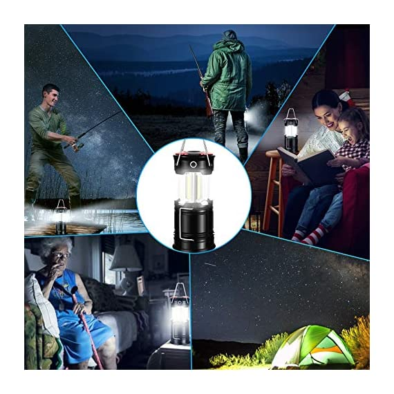 AKMONA Camping Lantern, 2 Pack with 8 Batteries High Lumens LED Lanterns Battery Powered, Suitable for Hurricane… 6 Super Bright & Large Area Brightness. 360-degree covered lighting with top spotlight provides high visibility to meet large area brightness. 4 lighting modes. Collapsible COB LED Lantern. Flashlight. Red Warning Light(Strobe & SOS light). The lantern is a vital filed survival tool and camping accessories. Long Last Run Time. Using 3*AA batteries (Included) as power supply enables it can be continuously used for a long time, which brings you to light for a long time to fulfill your needs. Energy-saving and suitable for camping, power outage, night fishing & hunting, emergency usage, hurricane and survival kit, etc. Novel Design, Metal Handle, And Magnet Base. Collapsible design (by pushing and pulling the handle) can turn on or close the lantern. A metal portable lantern can be used as a flashlight, vertical lift as a lantern, and can hangit on trees or others. 3 Strong magnets on the base can be adsorbed on any metal surface to free your hands.