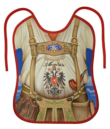 Tini - Shirts Grosses Lätzchen für Erwachsene - Österreicher Tracht Lederhosen Motiv-Latz : Austria Tiroler - cooler Sprüche/Motiv Latz für Senioren mit Humor Gr: OneSize