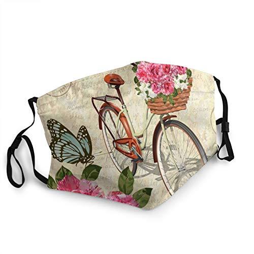 ZVEZVI Vintage Rosesbutterflies Bike Face Cover Wiederverwendbar, waschbares Tuch, Face Cover, Paar Bequeme waschbare Maske