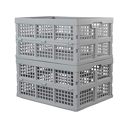 Hespapa 35 Quart Folding Crates, Plastic Collapsible Storage Container Milk Crate Baskets(Grey, 2 Pack) Basic Crates