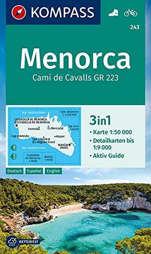 KOMPASS Wanderkarte Menorca: 3in1 Wanderkarte 1:50000 mit Aktiv Guide und Detailkarten bis 1:9000. Fahrradfahren. (KOMPASS-Wanderkarten, Band 243)
