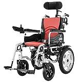 DONG op Plegable Silla de Ruedas eléctrica con reposacabezas, Silla de Motor de luz con Respaldo Ajustable de Edad Avanzada y el ángulo del Pedal de Palanca discapacitados 360 °, la Anchura.