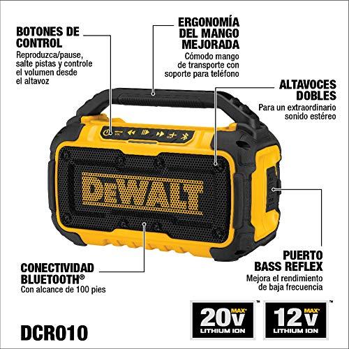 DEWALT 20V MAX Bluetooth Speaker for Jobsite, Tool Only (DCR010)
