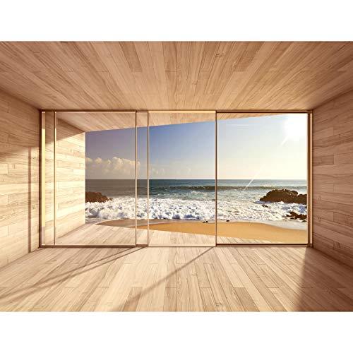 Fototapeten 396 x 280 cm Fenster zum Meer | Vlies Wanddekoration Wohnzimmer Schlafzimmer | Deutsche Manufaktur | Blau Braun 9051012a