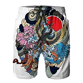 Mens Printed Shorts Pants,Japanese Peacock Tattoo Phoenix fire Bird,Quick Dry Beach Board Swim Trunks 4XL