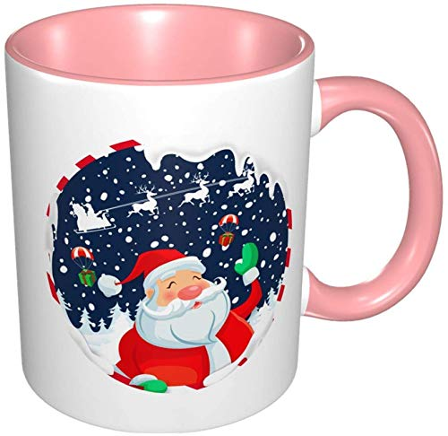 Taza de café de porcelana de Papá Noel navideña, tazas coloridas con mango de cerámica para capuchino, té, cacao y cereales, rosa
