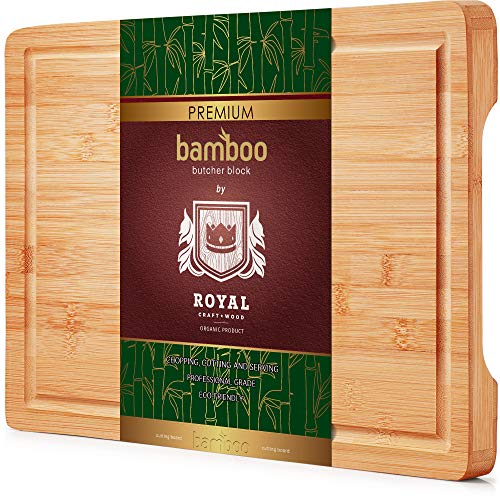 Organic Bamboo Cutting Board with Juice Groove - Best Kitchen Chopping Board for Meat (Butcher Block) Cheese and Vegetables | Anti Microbial Heavy Duty Serving Tray w/Handles (Thick)