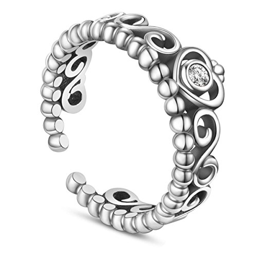 SHEGRACE Anello da Donna Vintage con Corona in Argento Sterling 925 con Anello in Zirconia 3A, Regalo per Ragazza Cool, 17 mm, Regolabile
