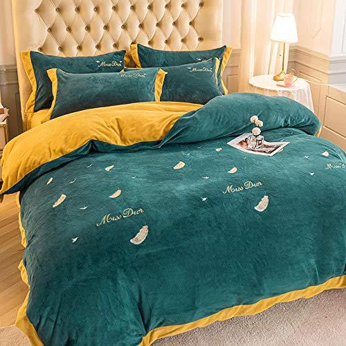 Shinon teddy fleece bedding single blue,Winter thick embroidered flannel bed sheet bed sheet pillowcase duvet cover bedding set-E_1.8m bed (4 pieces)