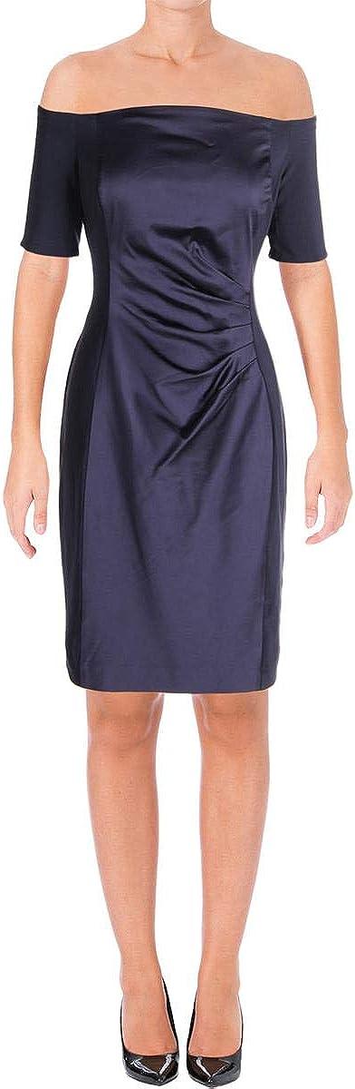 Lauren by Ralph Lauren Women's Off-The-Shoulder Satin Sheath Dress