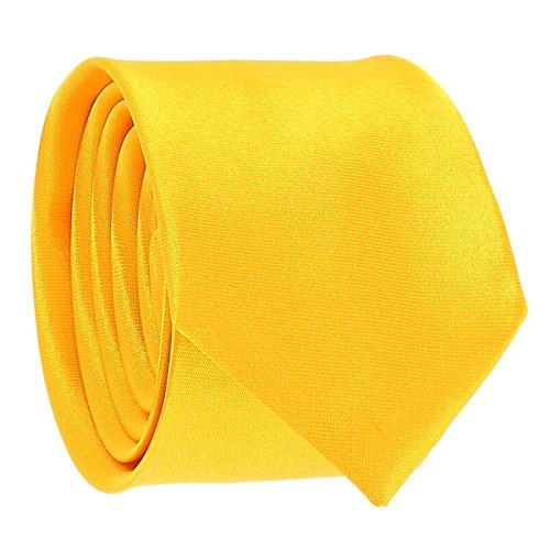 Cravate Fine Jaune orange - Cravate Homme Coupe Slim Moderne - 5cm à la Pointe - Couleur Unie - Accessoire Chemise pour Mariage, Cérémonie