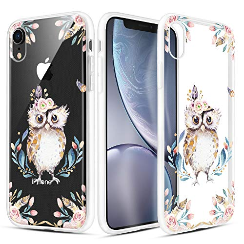 Caka iPhone XR Case, iPhone XR Clear Floral Case Flower Pattern Floral Series Slim Cute Girly Women Anti Scratch Excellent Grip Premium Clarity TPU Crystal Case for iPhone XR 6.1 inch (Owl)